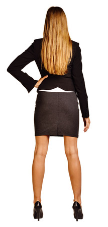 determinism: Back view of confident business woman  isolated on white background