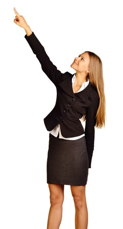business woman showing a thumbs up on white background