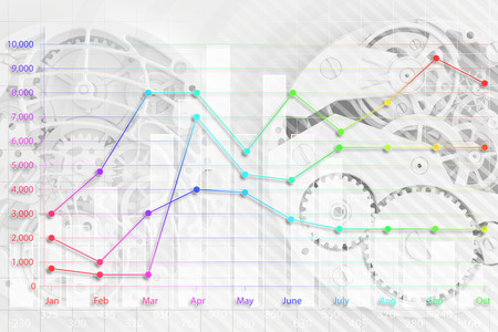 abstract background of the clock and business graph photo
