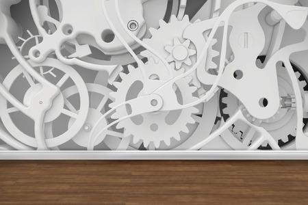 rack wheel: mechanism of cogwheels in the room  background  Stock Photo