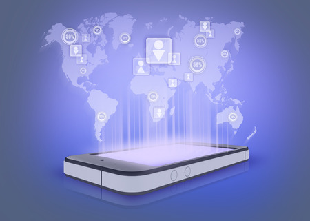 Social networks and their number in the world. projection the phone Stock Photo