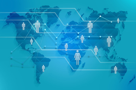 business networking: Social map of the world with images of silhouette people