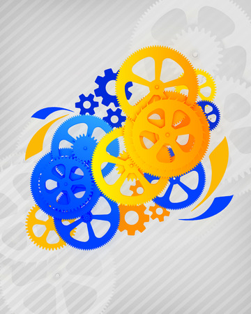 Abstract illustration of gears on a gray background