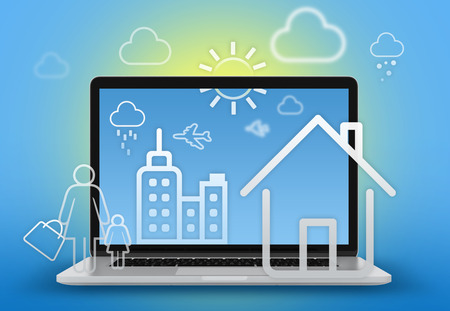 illustration home, skyscraper and people walking on the background of a laptop in the background illustration