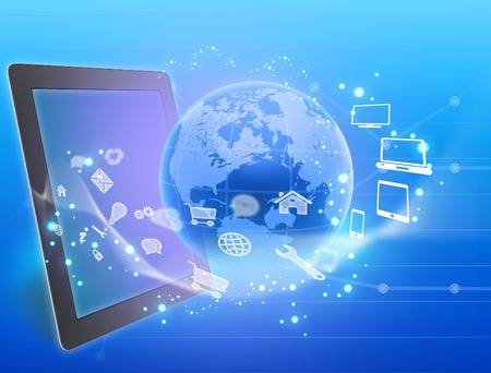 flying icons of the tablet around the planet Stock Photo