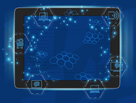 tablet with a glossy screen and transparent computer icons photo