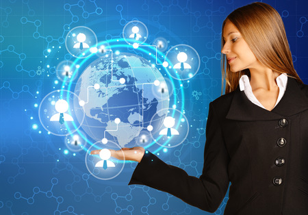 human icons: woman showing holding on world map and teamwork people icon