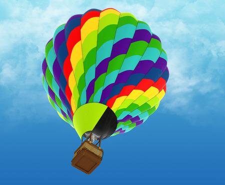 Beautiful Hot Air Balloon against a deep blue sky photo