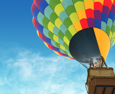 Beautiful Hot Air Balloon against a deep blue sky