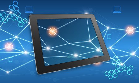 tablet on abstract background connect line and hexagons photo