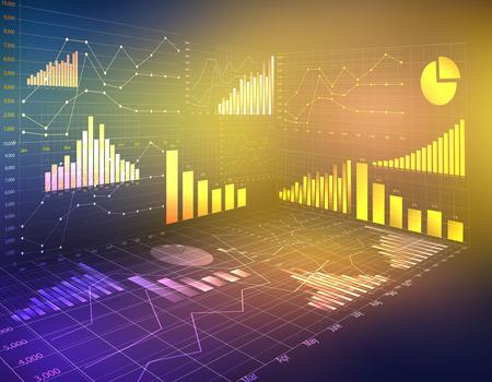 Estadísticas financieras moneda negocios resumen gráficos por ordenador Foto de archivo - 33091834