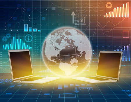 computer and globe on abstract background business graph photo