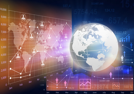 statics: Globe and abstract business charts with the world map