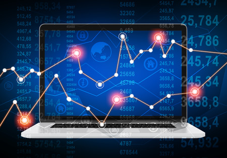 wireles: laptop and financial chart with glowing points on abstract background