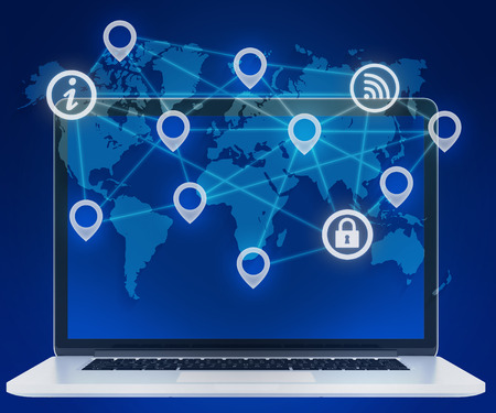 wireles: Icons of locations in a network. laptop and world map Stock Photo