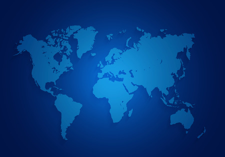world map located on a dark blue background Stock Photo