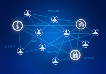 wireles: computer icons and people connection in a global network Stock Photo