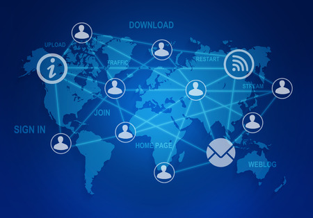 computer icons and people connection in a global network on the world map