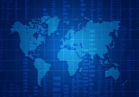 Mapa del mundo con números de malla y se encuentra en un fondo azul oscuro Foto de archivo - 33220125