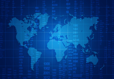 world map with mesh and numbers located on a dark blue background Archivio Fotografico