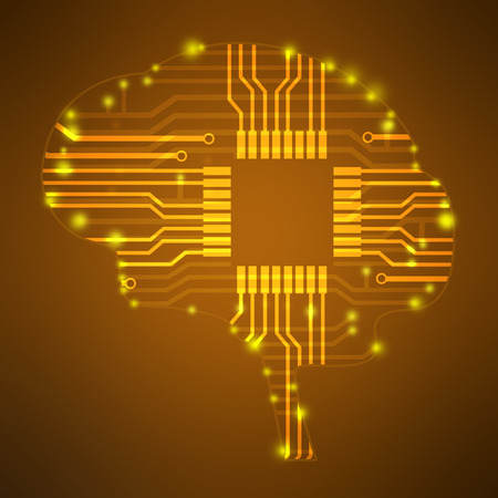 mother board: silhouette brain in the form of lines circuits Stock Photo