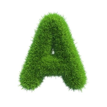 abecedario: Carta de la hierba verde fresca aislado en un fondo blanco Foto de archivo