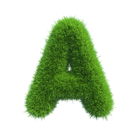 Letter of green fresh grass isolated on a white background Banco de Imagens - 34449083