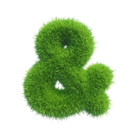 ampersand of green fresh grass isolated on a white background photo