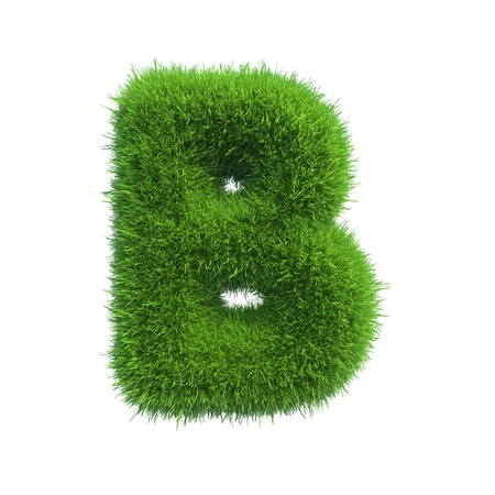 green: Letter of green fresh grass isolated on a white background