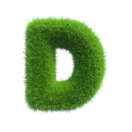 d: Letter of green fresh grass isolated on a white background