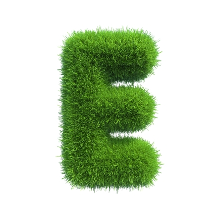 e pretty: Letter of green fresh grass isolated on a white background
