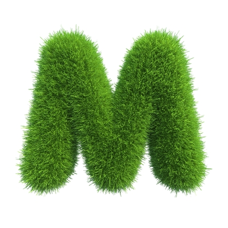 Letter of green fresh grass isolated on a white background