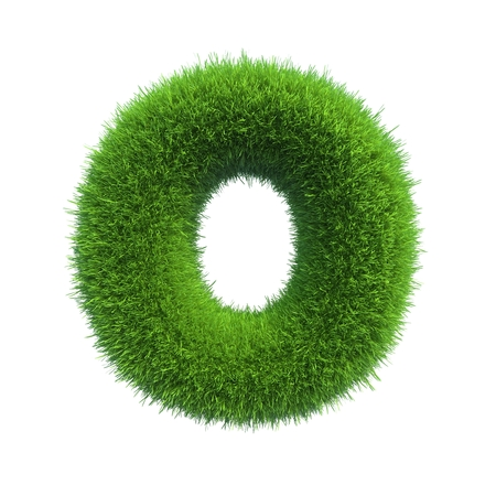 font alphabet: Letter of green fresh grass isolated on a white background