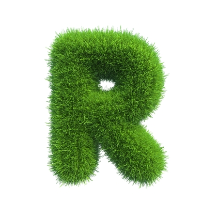 letter r: Letter of green fresh grass isolated on a white background