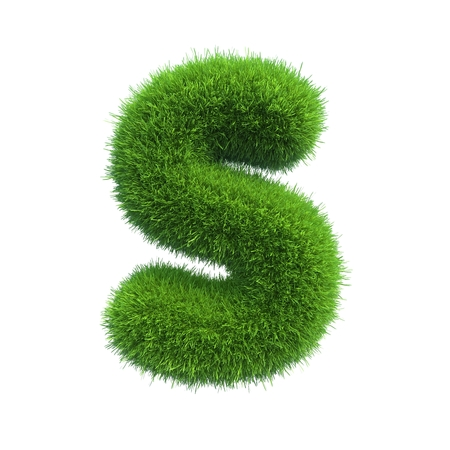 letter s: Letter of green fresh grass isolated on a white background