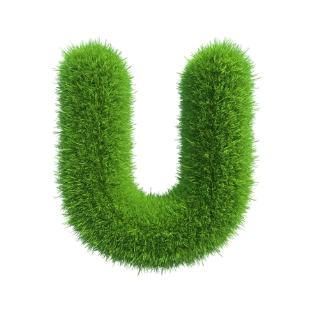 grass: Letter of green fresh grass isolated on a white background