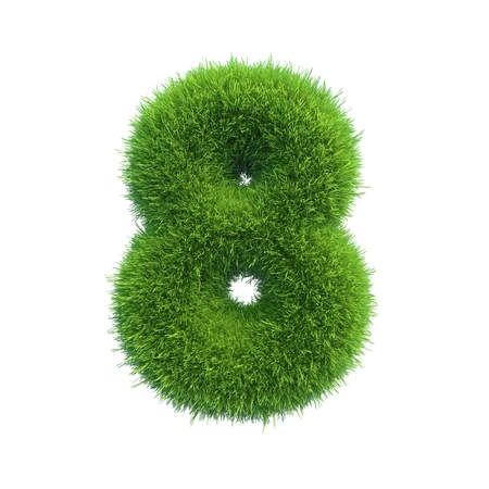 Number symbol of green fresh grass isolated on a white background