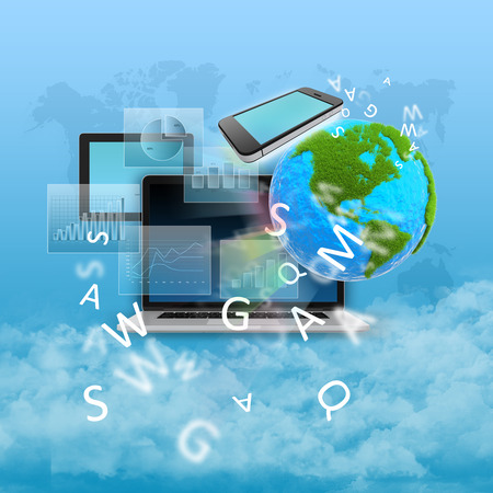 Abstract collage with computers, green planet and graphs Stock Photo