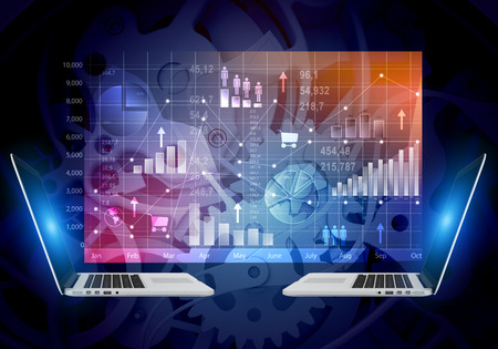 abstract background screen with icons inside and laptop computers photo