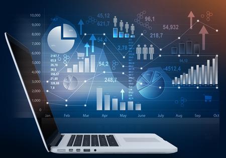 tecnolog�a informatica: ordenador port�til y pantalla t�ctil fuera con la carta de icono