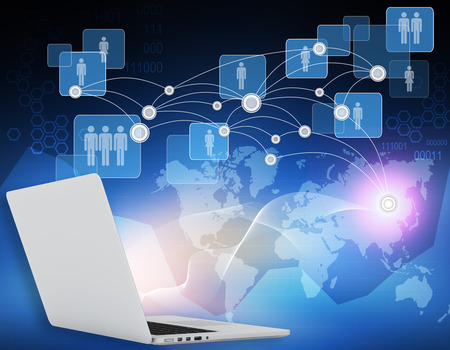 Laptops and world map connection points in the network with icons of people photo