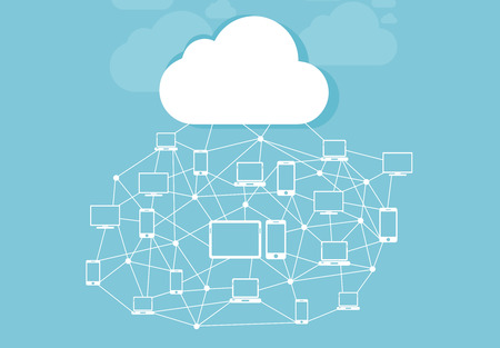 networked: Cloud and storage of information with icons networked