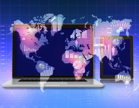 laptop, tablet on the abstract background with world map and icons photo