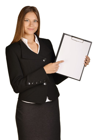 Business woman showing forefinger on clipboard. white background photo
