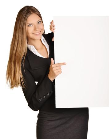Business girl shows forefinger hand on the blank banner