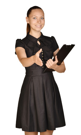 Girl in dress standing holding clip board and pulls hand of greeting