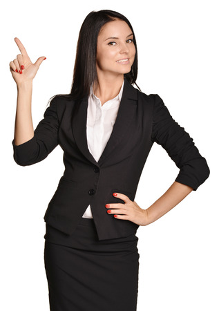 집게 손가락: Business woman shows forefinger up. white background