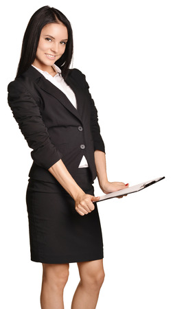 skirt suit: Business woman in suit and skirt holding a clipboard