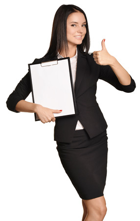 Business woman holding a clip board in hand and the other showing thumbs up