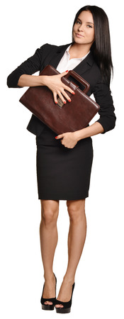 leather briefcase: Business woman holding in his hand leather briefcase
